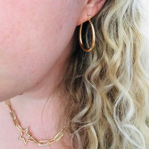 Thick Gold Hoop Summer Earrings